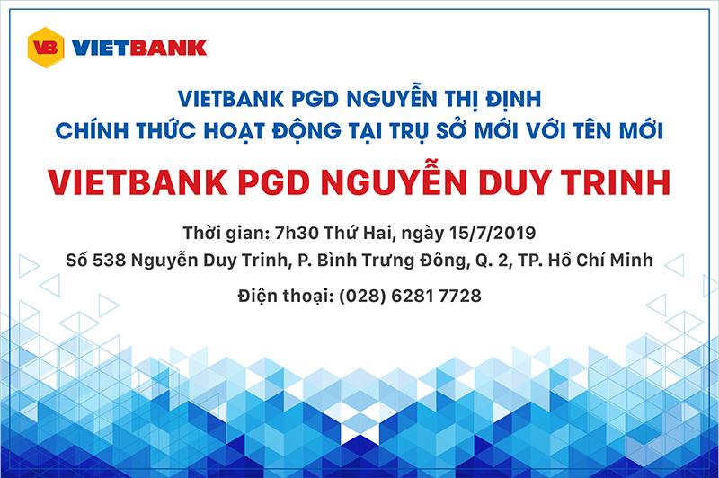 Thông báo thay đổi tên gọi và địa điểm Phòng giao dịch Nguyễn Thị Định