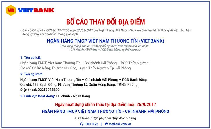 Bố cáo thay đổi địa điểm PGD Thủy Nguyên - Chi nhánh Hải Phòng