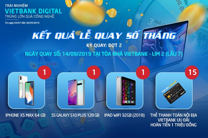 """Danh sách trúng thưởng đợt 2 CTKM """"Trải nghiệm Vietbank Digital – Trúng lớn quà công nghệ"""""""