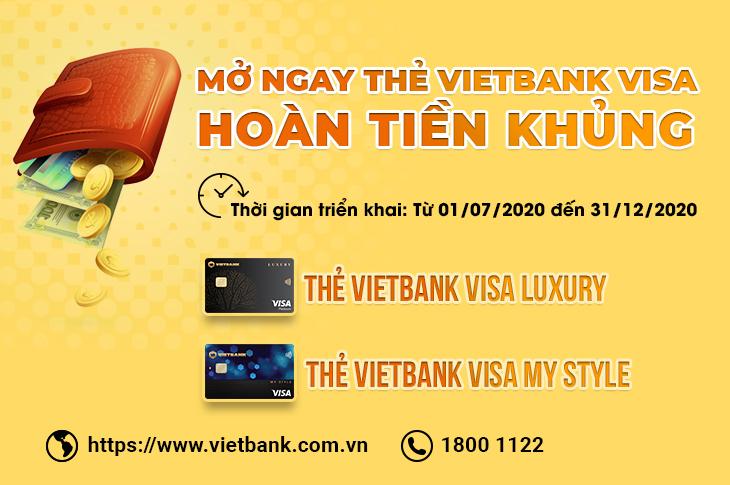Mở ngay thẻ Vietbank Visa - Hoàn tiền khủng